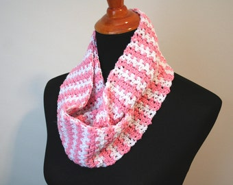 Crocheted Cowl, Pink and White Striped; Pink Crochet Cowl, Striped Crochet Cowl, Crochet Winter Scarf, Simple Crochet Scarf