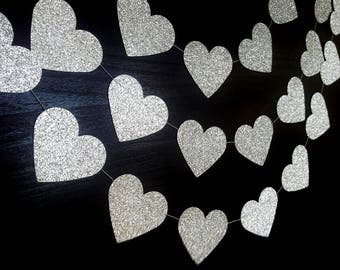 SPARKLEHEARTS:  Silver Glitter Small Paper Heart Garland – Party, Wedding, Shower, Room Decoration
