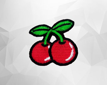 Cherry Iron on Patch(S1) - Cherry Applique Embroidered Iron on Patch -Size 3.3 x 3.0 cm