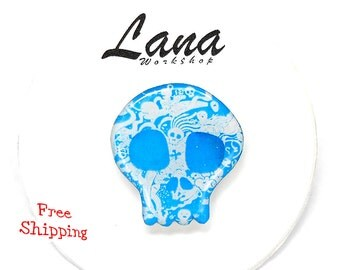 Free shipping Day of the dead, Openwork skull blue, skull, pin skull, brooch skull, jewelry skull, clay skull, clay pin, present gift