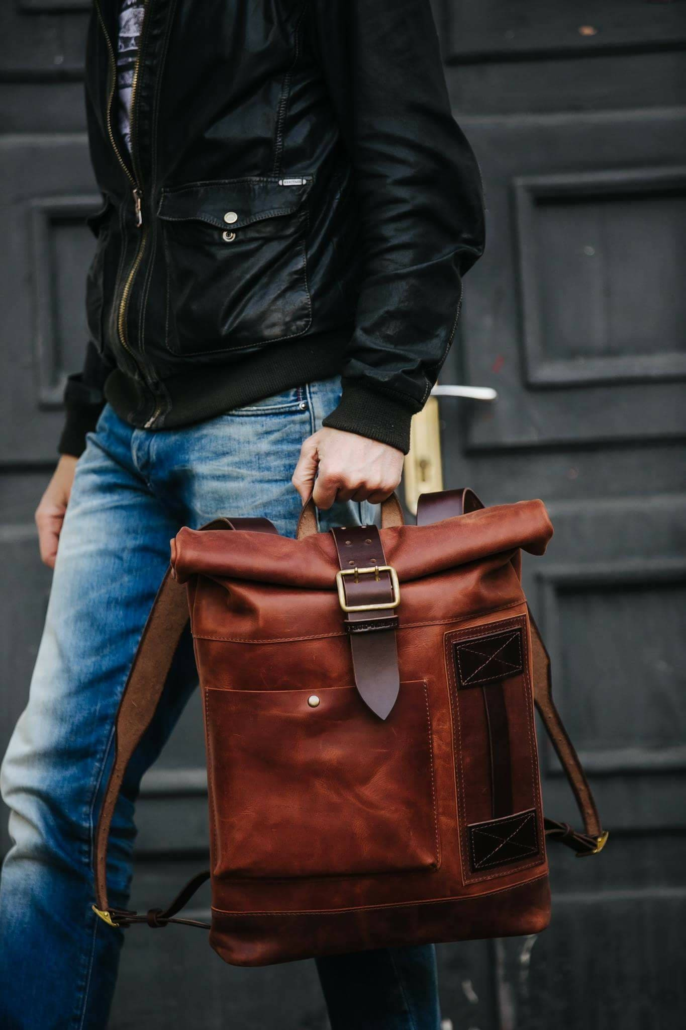 Leather backpack men | Etsy