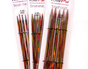 Knit Pro Symfonie double pointed knitting needles 15 cm (5.9 inch) all sizes from 2 mm to 8mm (US 1 to 11 or UK size 13-0) set of 5 DPNs
