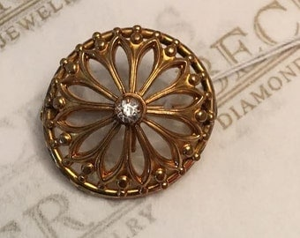 Antique Victorian gold filled Filigree Pocket Watch Pin Pendant with a Clear Crystal Center