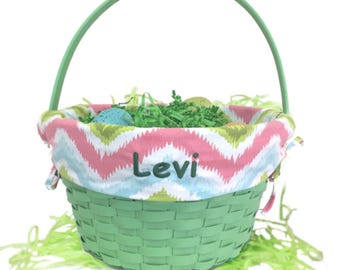 Personalized Green Chevron Pattern Easter Basket
