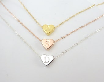 Custom hand stamped Heart necklace,  heart initial pendant, Bridesmaid jewelry, mothers necklace