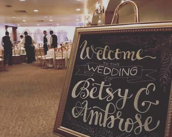 """Welcome Wedding Sign """"Flowers"""""""