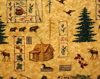 Moda Fabric ~ Pineberry Trail by Holly Taylor ~ Moose/Bears/Trees/Ducks/ Cabins, 1 - 3 inches on a Gold Background