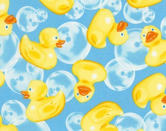 Rubber Ducks Fabric / Rubber Ducky Fabric / Timeless Treasures Rubber Ducks GM- C5396 -Aqua Yardage / By The Yard and  Fat Quarters