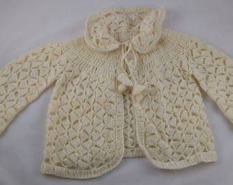 Darling Vintage Cream Colored Crocheted Baby Sweater