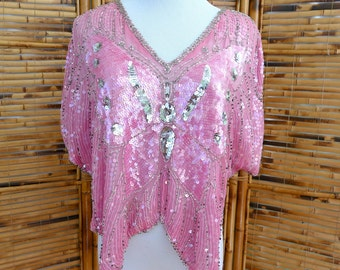 1980s Pink Indian Silk Beaded & Sequined Butterfly Blouse