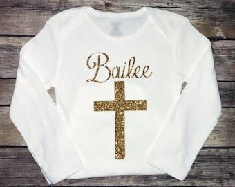 Baptism Christening Blessing Onesie // GOLD GLITTER pink silver Personalized Onesie Baby Boy Baby Girl Newborn Onesie Name Baby Gift