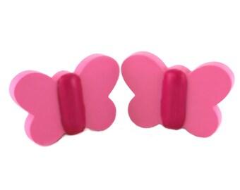 Kids dresser knobs, Kids drawer pulls, Pink butterfly knobs, Wood drawer pulls, Butterfly home decor, Children bedroom ideas, Pink handles
