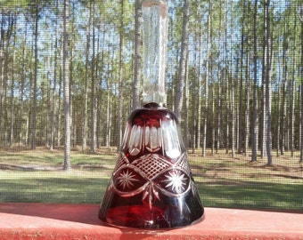 Bohemian/Czechoslovakia Cut to Clear Ruby Red Bell