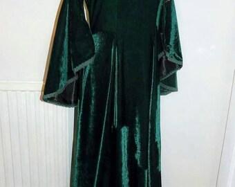 Guinevere Dress - Handmade Medieval Velvet Dress With Bell Sleeves