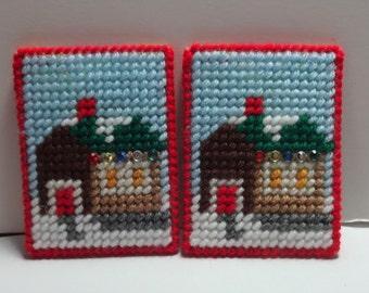 Handmade Plastic Christmas Cottage Gift Card Holder. Can Hang On Christmas Tree.