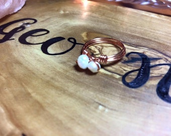Copper Wire Two Pearl Ring