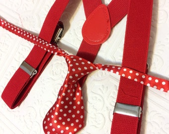 Baby suspenders, polkadot tie, baby neck tie, baby neck tie outfit, suspenders, red suspenders set, wedding suspenders, Birthday neck tie