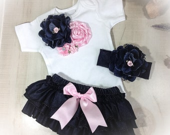 Baby Girl Denim Outfit, Baby Girl Ruffle Bloomers, Newborn Girl Ruffle Panty, Newborn Bodysuit Outfit