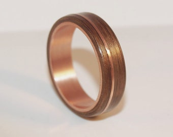 wooden rings bentwood copper and walnut inlay rings mens wood rings womens wood - Mens Wood Wedding Rings
