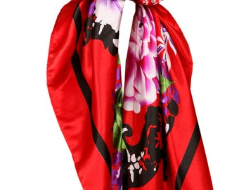 Love Lakeside-Women's Silky Feel, Pre-tied, Fitted Headscarf, Tichel, Chemo Scarf Red Multi