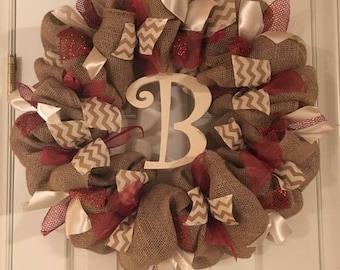 Burlap crimson and cream wreath.
