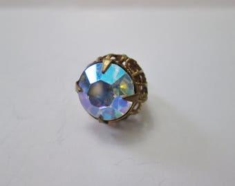 Vintage Iridescent Rainbow Crystal Gem on Ornate Brass Colored Base - Necklace Pendant Charm - Elegant Costume Jewelry