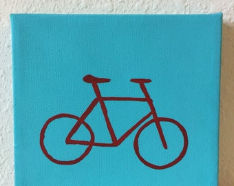 bicycle painting, red bicycle on a teal background