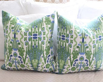 lacefield bombay // green and blue // ikat pillow // green pillow // chinoiserie pillow // green pillow // blue pillow