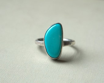 Natural Blue Nevada Turquoise and Sterling Silver Ring