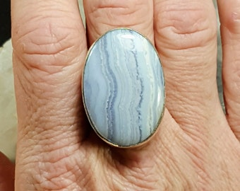 Blue Lace Agate Statement Ring - Size 9.25