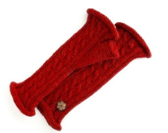 Twisted mittens red, 100% natural color alpaca, handmade
