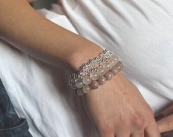Rose quartz bracelet - Silver bracelet - Pregnancy bracelet - Ivf - Fertility bracelet - Gemstone bracelet - gift for her - Woman energy