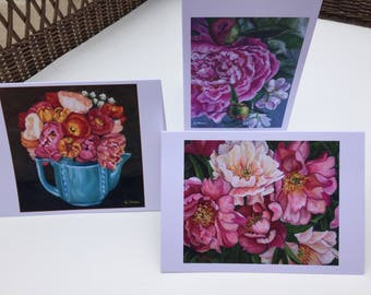 Archival fine art print set of 6 notecards.  Art print of original floral paintings.