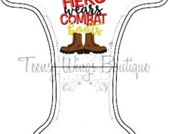 Custom embroidered two layer fleece diaper cover. My hero wears combat boots cloth diaper cover, Military cloth diaper, Onesize, newborn