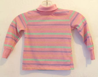 A Little Girls Vintage 70's,Striped Pink DISCO era TURTLENECK Top By Toddletime.3T