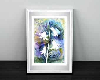 Ringing flowers, file download of an original in watercolor, strength and energy in a vivid nature painting.