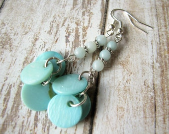 Amazonite earrings Gift for her Mother of pearl earrings Blue earrings Turquoise earrings Aqua earrings Ocean earrings Spring earrings  drop