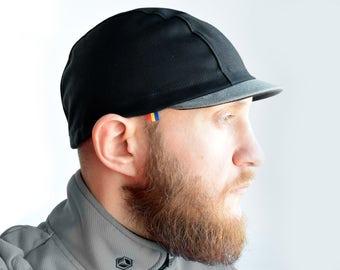 Kepi cycling cap, Black and grey cap, Bicycle cap, Cycle hat, Handmade cap