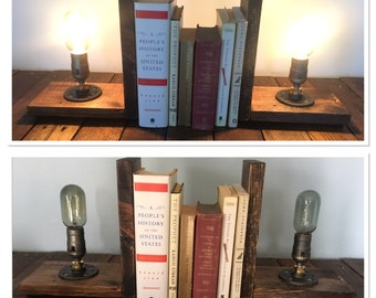 Reclaimed Wood Bookend Lamps