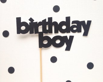 Birthday boy glitter cake topper - boys birthday - party decor - lil guy - celebrate