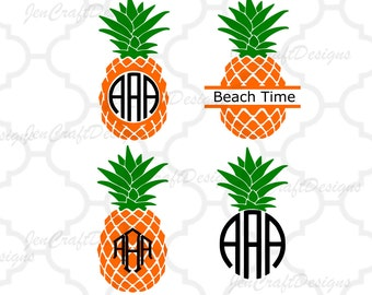 Pineapple SVG, Eps, DXF Cut File Split Frame Pineapple Circle Monogram Tropical Hawaiian Summer Monogram Cricut Silhouette, Die Cut Machines
