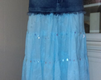 boho skirt,denim yolk skirt,womens skirt,one of the kind,handmaderuffled skirt,blue skirt