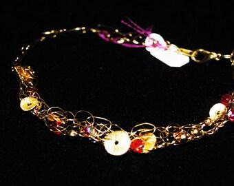 Gold Crochet wire bracelet