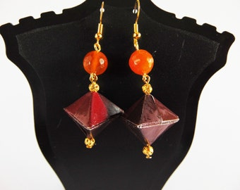 Origami earrings, glossy, lightweight and simple origami hexahedron in handmade paper comics, frfar09