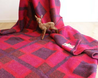 Double retro wool blanket, among others. Pink and purple. Vintage bedspread/plaid with diamond