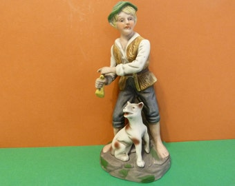 Home Interiors, Country Peasants Figurine of a Boy & his dog