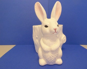 Ceramic Planter, Bunny with Stump
