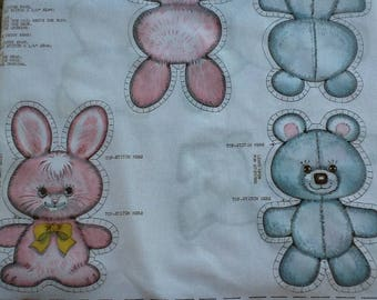 Vintage 1980s Springs Mills set of four baby animal pillow cut outs. Puppy, bear, kitten, bunny. Quilting, appliqué, embroidery.