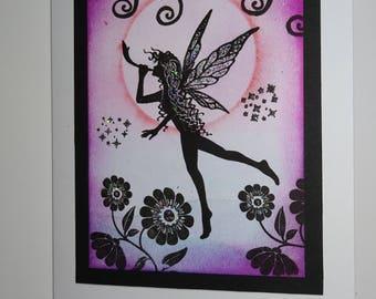 Fairy card, Pink fairy card, Frameable card, Frameable art, Fairy artwork, Magical card,Dream card