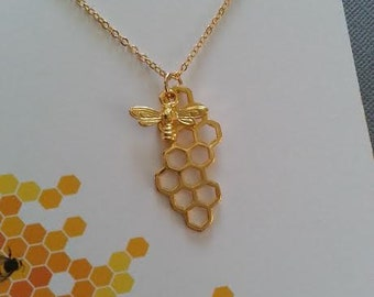 Gold Honeycomb and Bee Necklace / Honey Bee Necklace / Best Friend Necklace